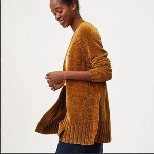 S LOFT gold chenille cardigan sweater EUC